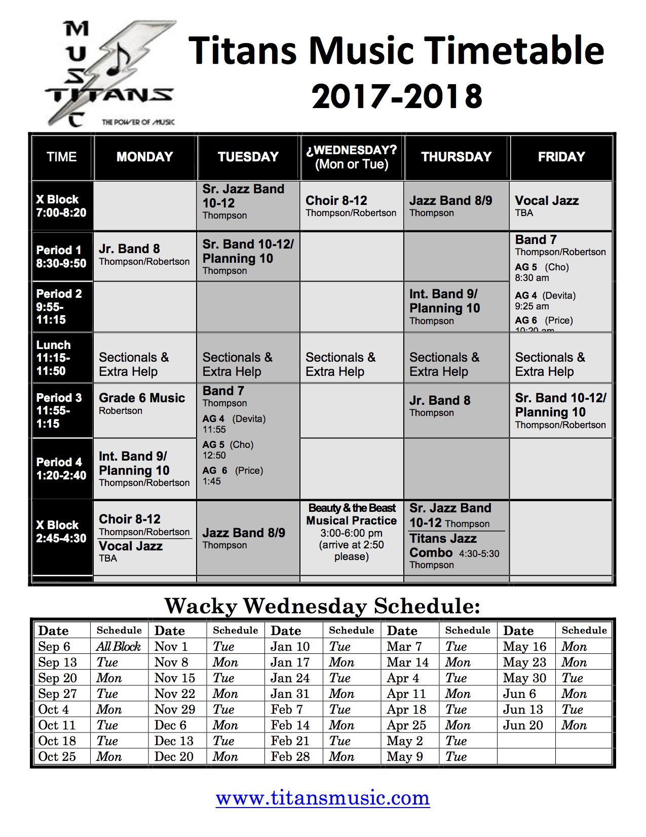 Music Schedule 2015-2016